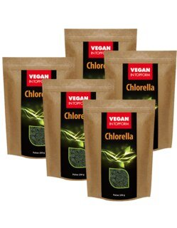 Chlorella Pulver Vegan in Topform - 250 g - 5er Pack,