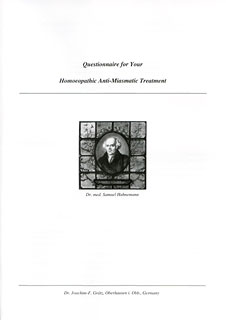 Questionnaire for Your Homoeopathic Anti-Miasmatic Treatment, Joachim-F. Grätz